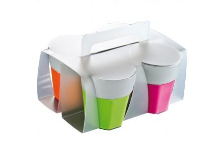 Zestaw czterech kolorowych kubków