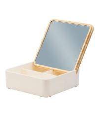 Pudełko z bambusową pokrywką i dużym lusterkiem Vanity