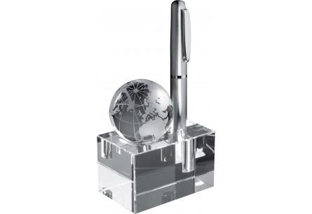 Szklany blok z globusem